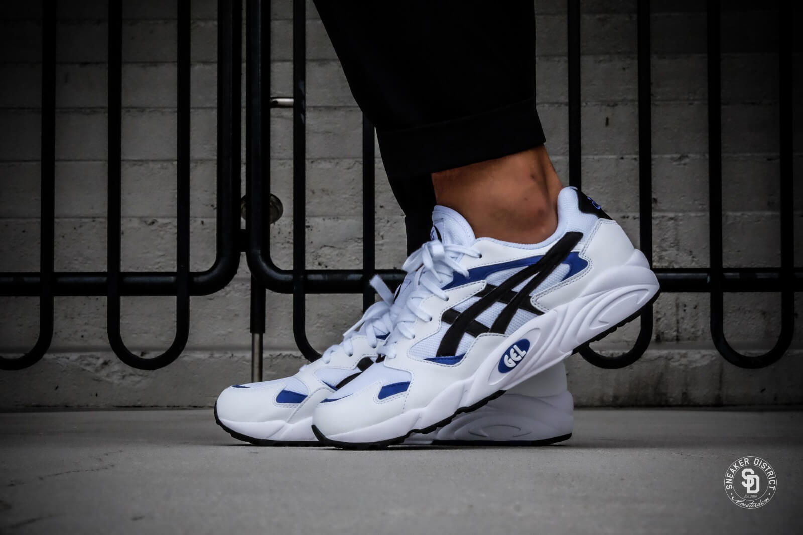 asics white with black