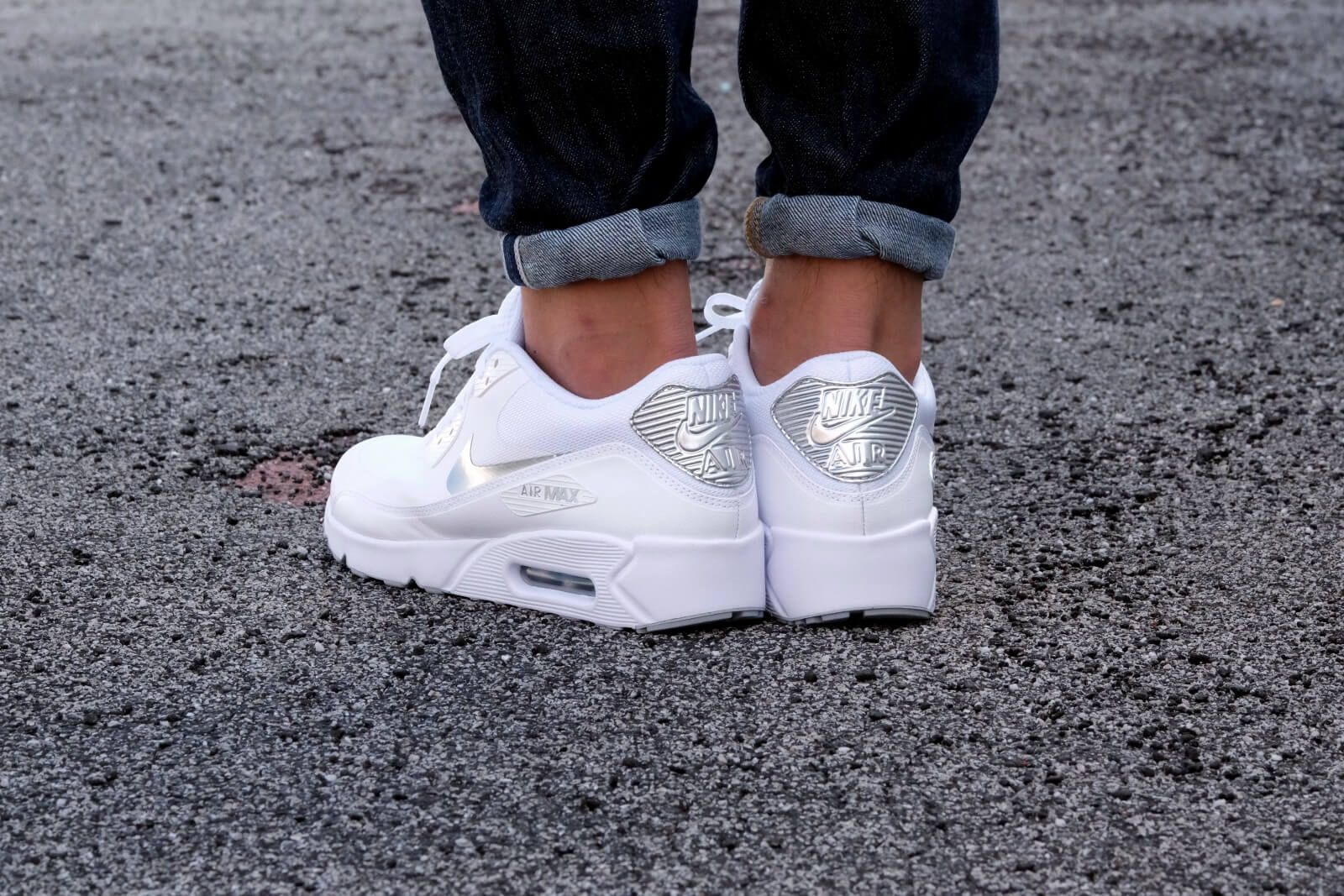 Nike Air Max 90 Ultra 2.0 Essential WhiteMetallic Silver White 875695 103