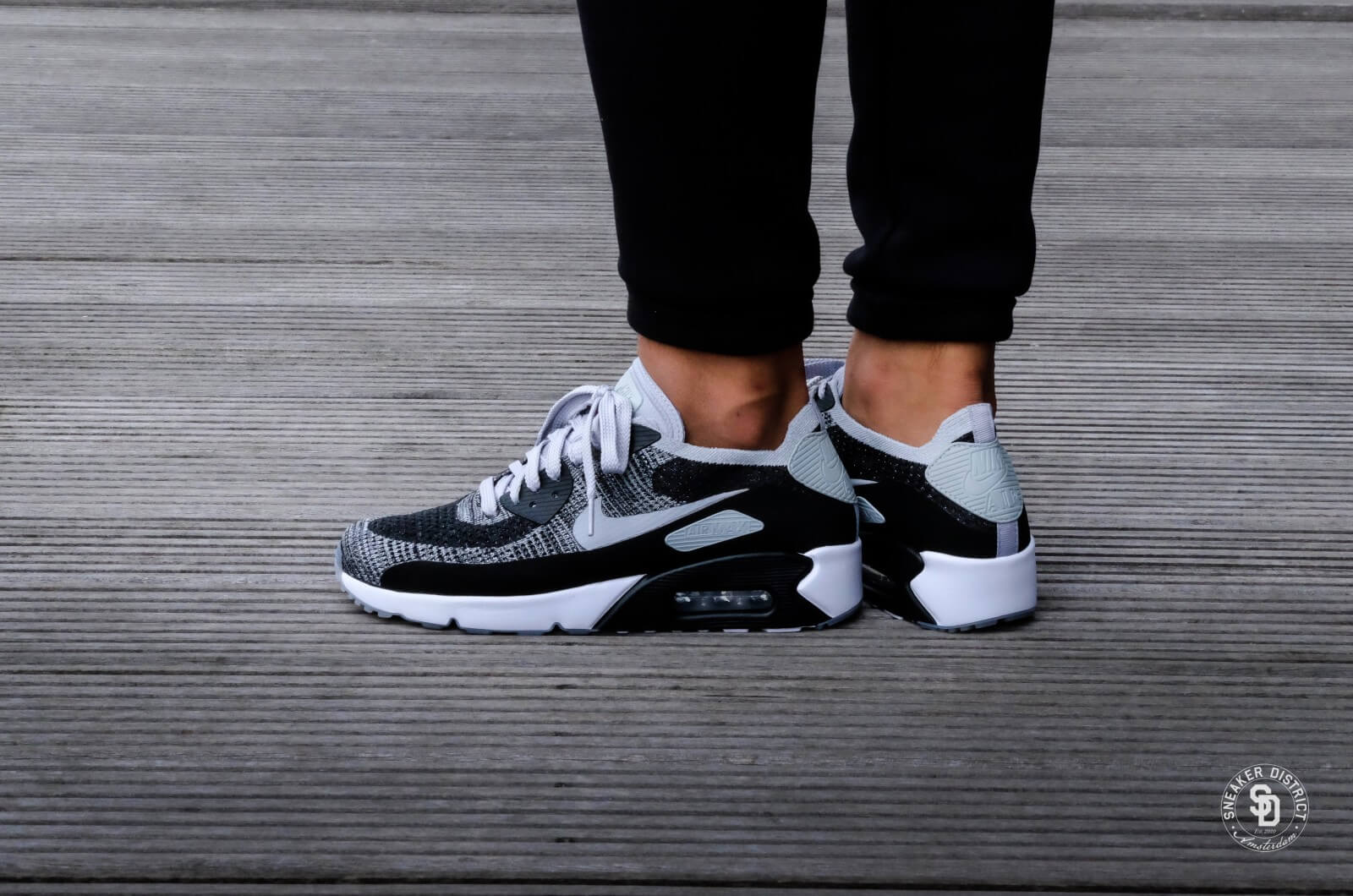 Nike Air Max 90 Ultra 2.0 Flyknit BlackWolf Grey White For Sale