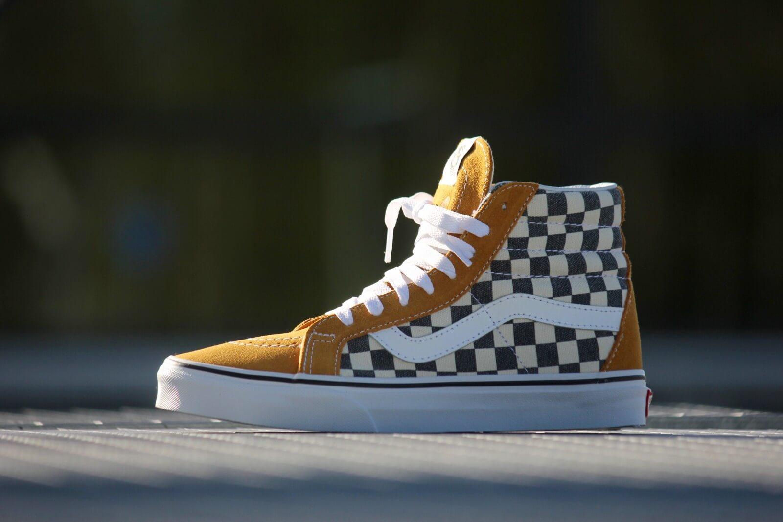 Vans Sk8 Hi Checkerboard Yellow/ Navy