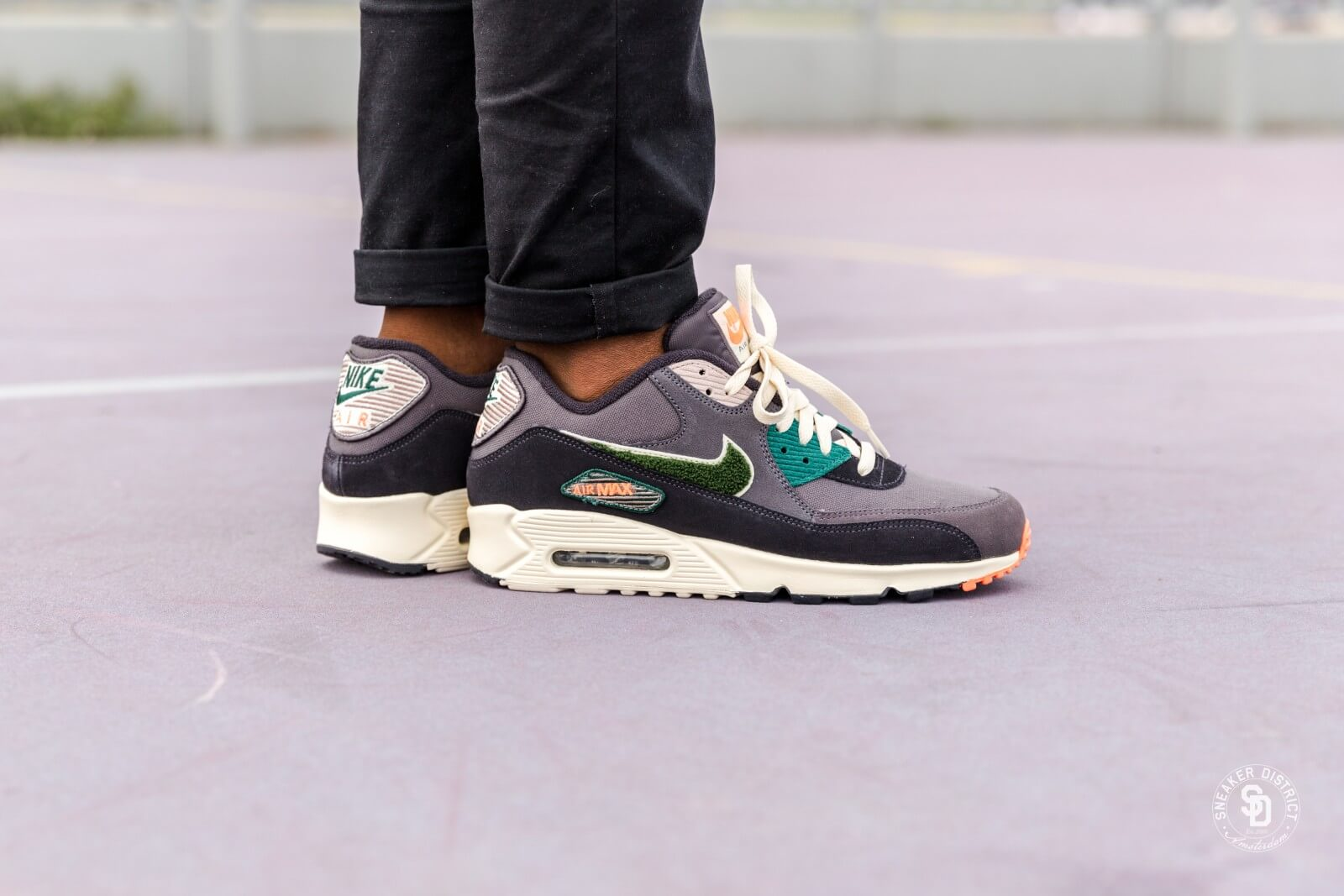 nike AIR MAX 90 PREMIUM SE OIL GREYRAINFOREST LIGHT CREAM