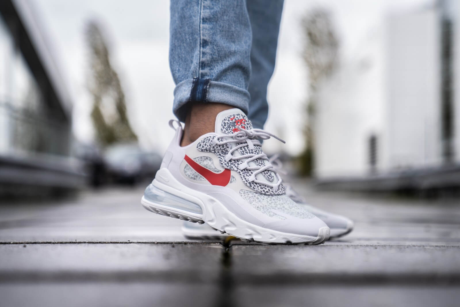 Nike Air Max 270 React Neutral Grey/University Red - CT2535-001