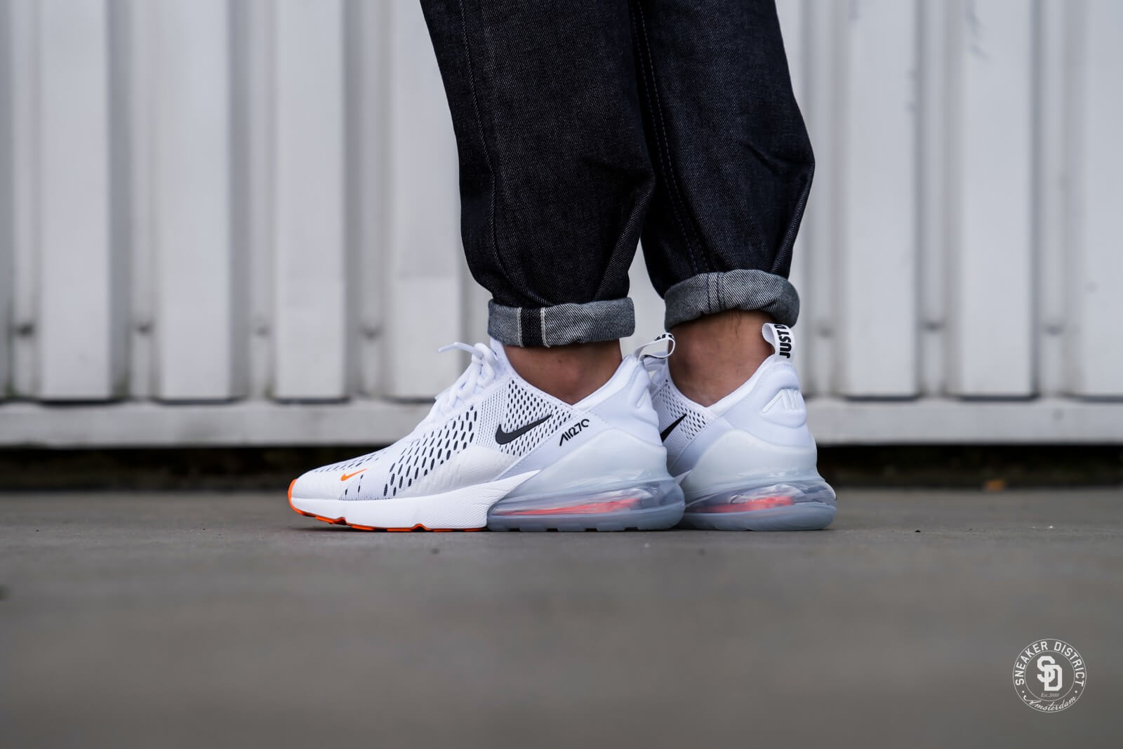 nike air max 270 white black total orange