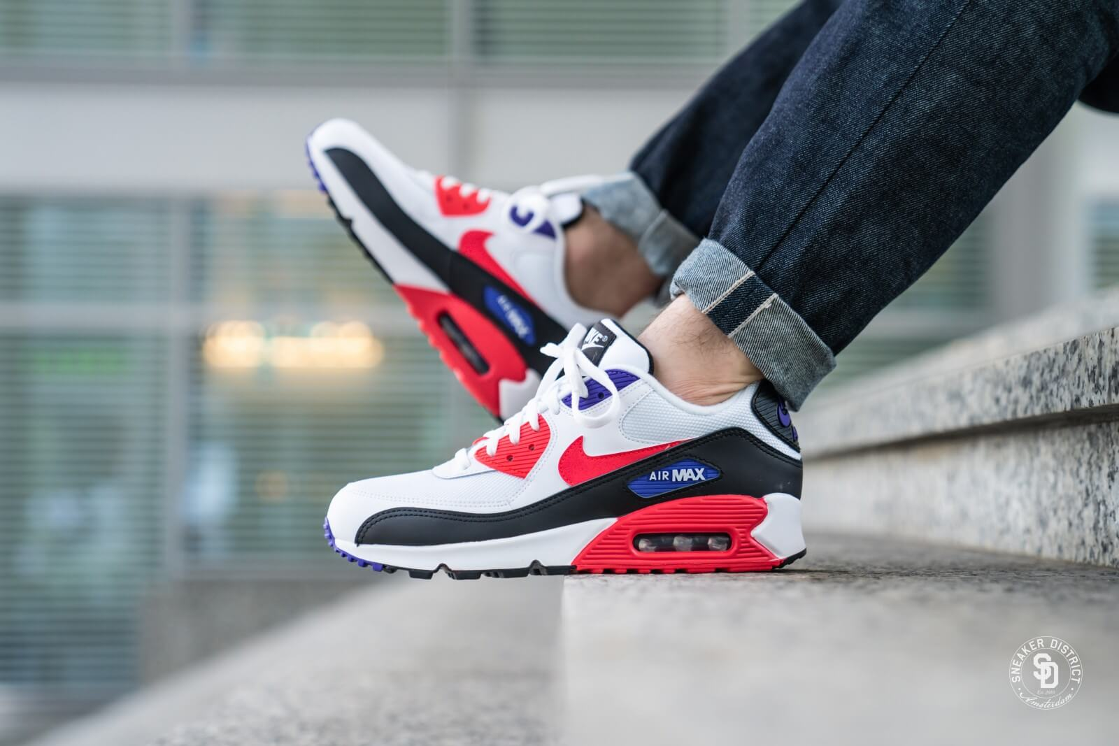 Nike Air Max 90 Essential WhiteRed Orbit Psychic Purple AJ1285 106