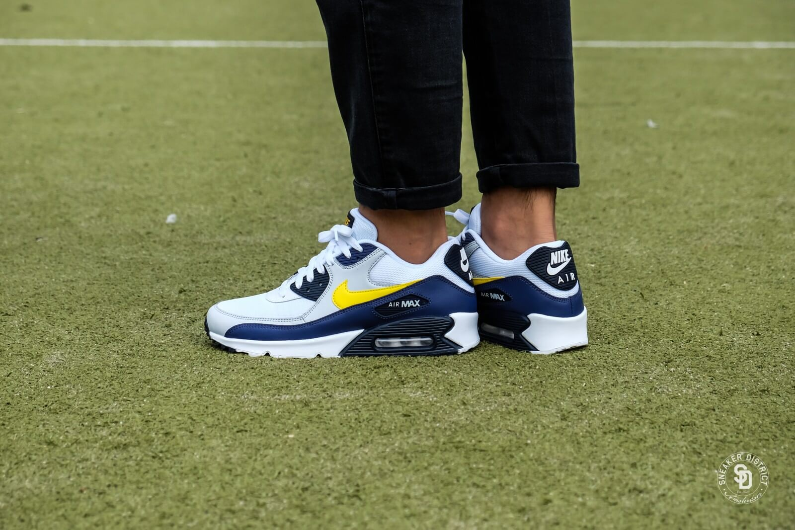 Nike Air Max 90 Essential WhiteTour Yellow Blue Recall AJ1285 101