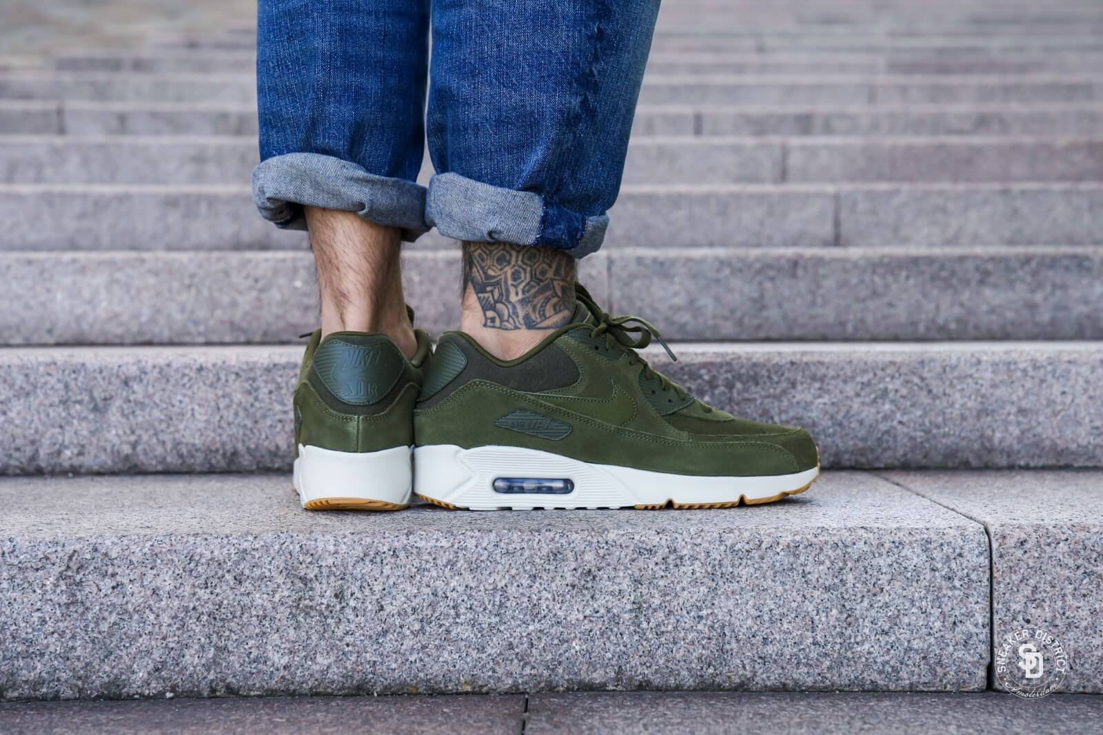 Nike Air Max 90 Ultra 2.0 Leather Olive CanvasLight Bone 924447 301