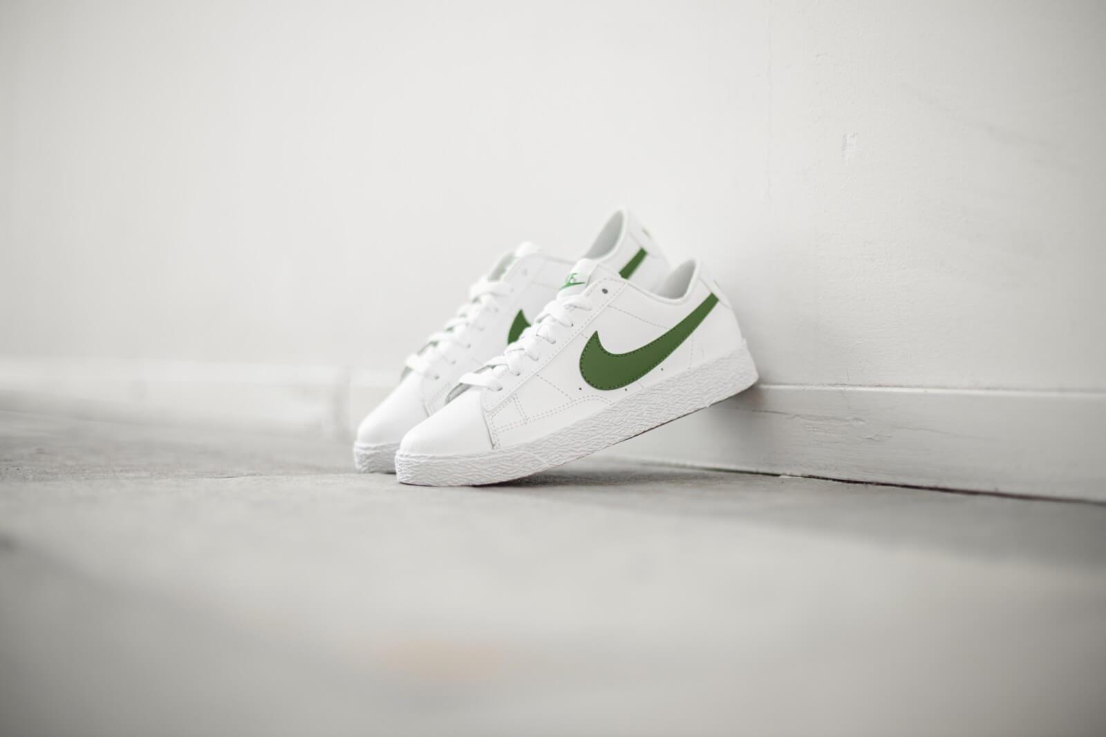 white and green nike blazers