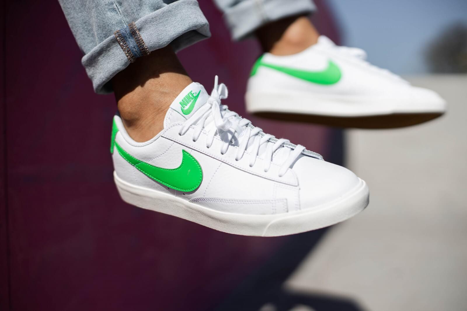 Nike Blazer Low Leather White/Green Spark-Sail