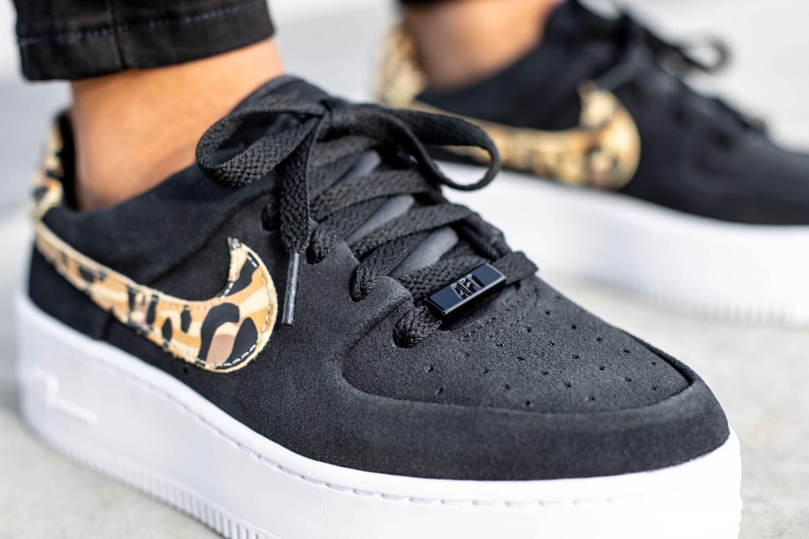 Nike Women's Air Force 1 Sage Low Leopard Black