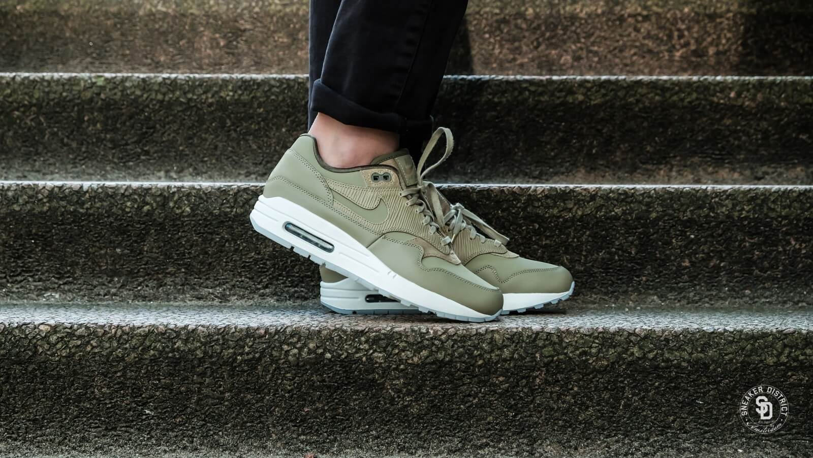 buy online e7a27 6bb74 ... Nike Womens Air Max 1 Premium Neutral OliveMedium Olive - 45 ...