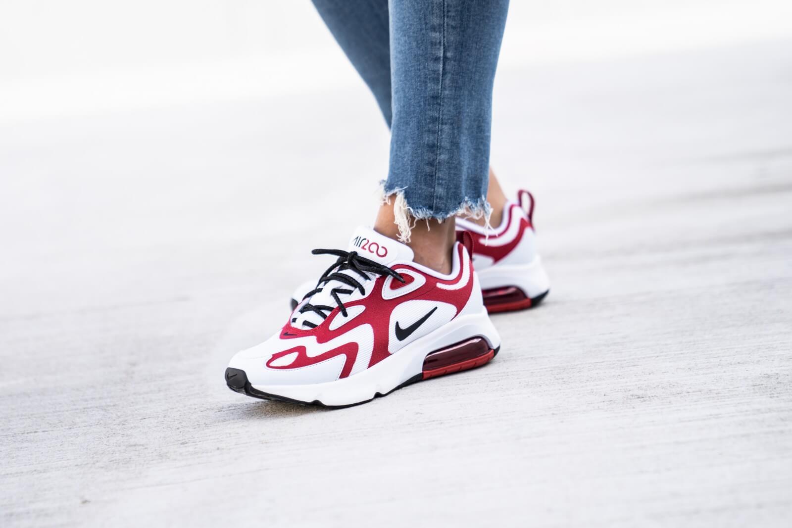 Nike Women's Air Max 200 White/Black-Gym Red