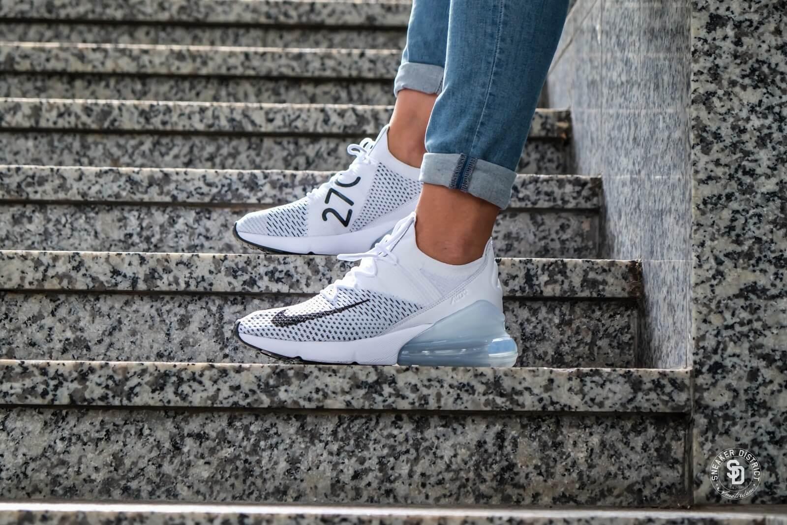 Nike Women S Air Max 270 Flyknit White Black Pure Platinum
