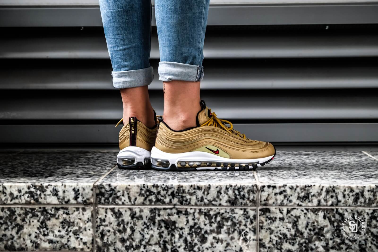 womens nike air max 97 metallic gold