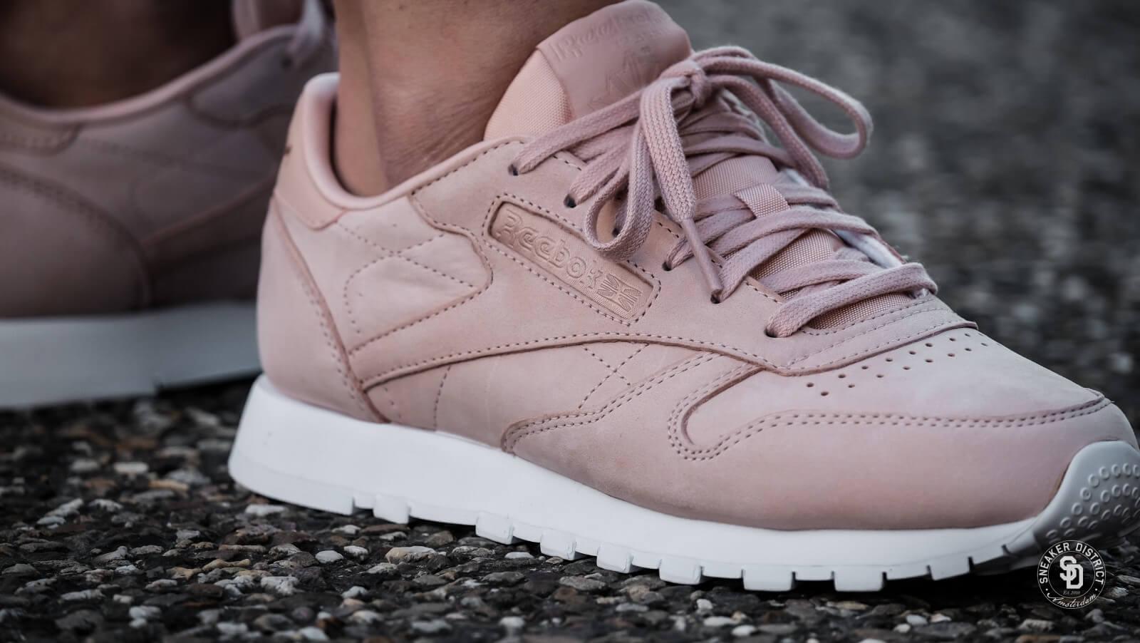 Reebok Classic Nubuck Leather Sneakers In Pink