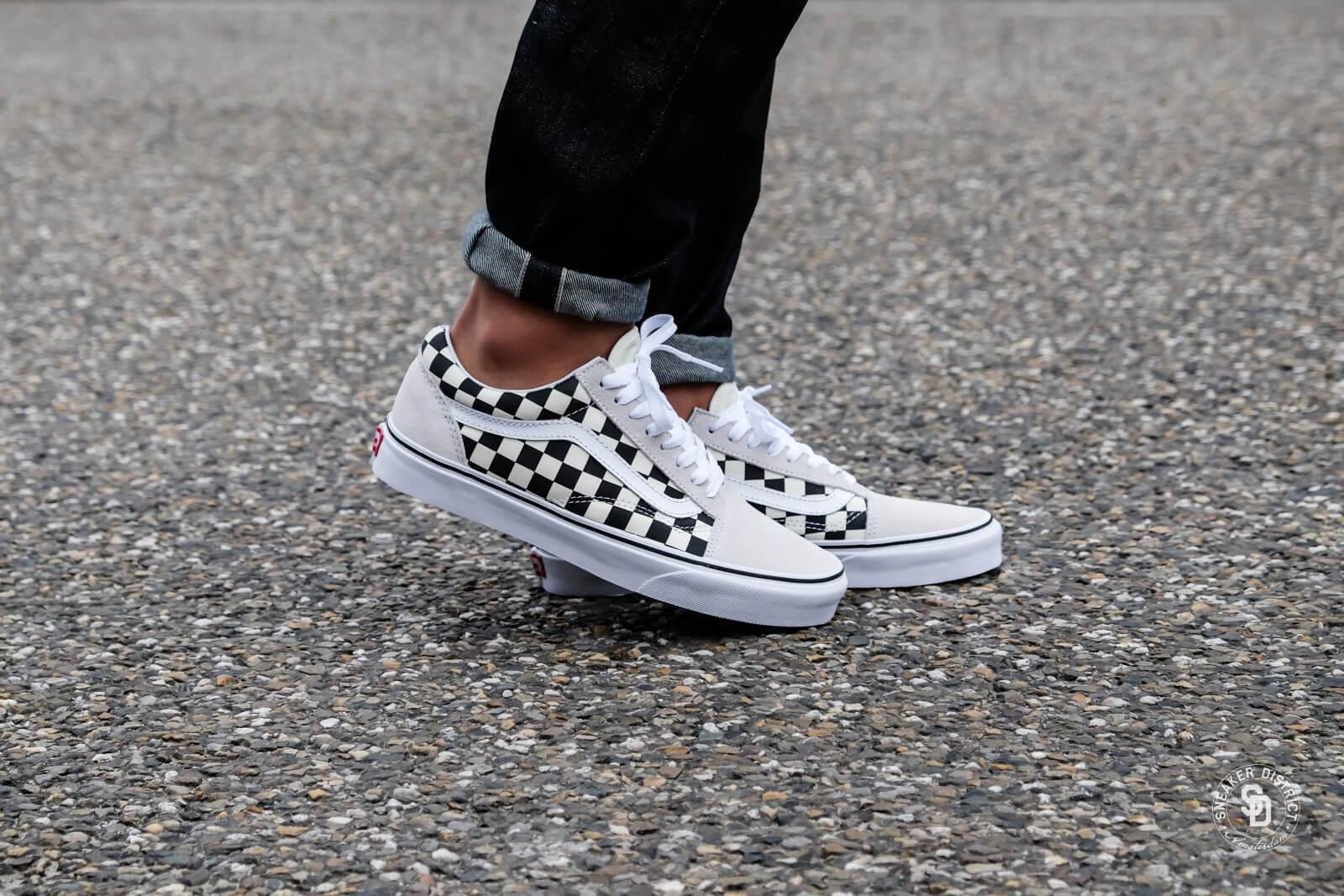 vans checkerboard white black