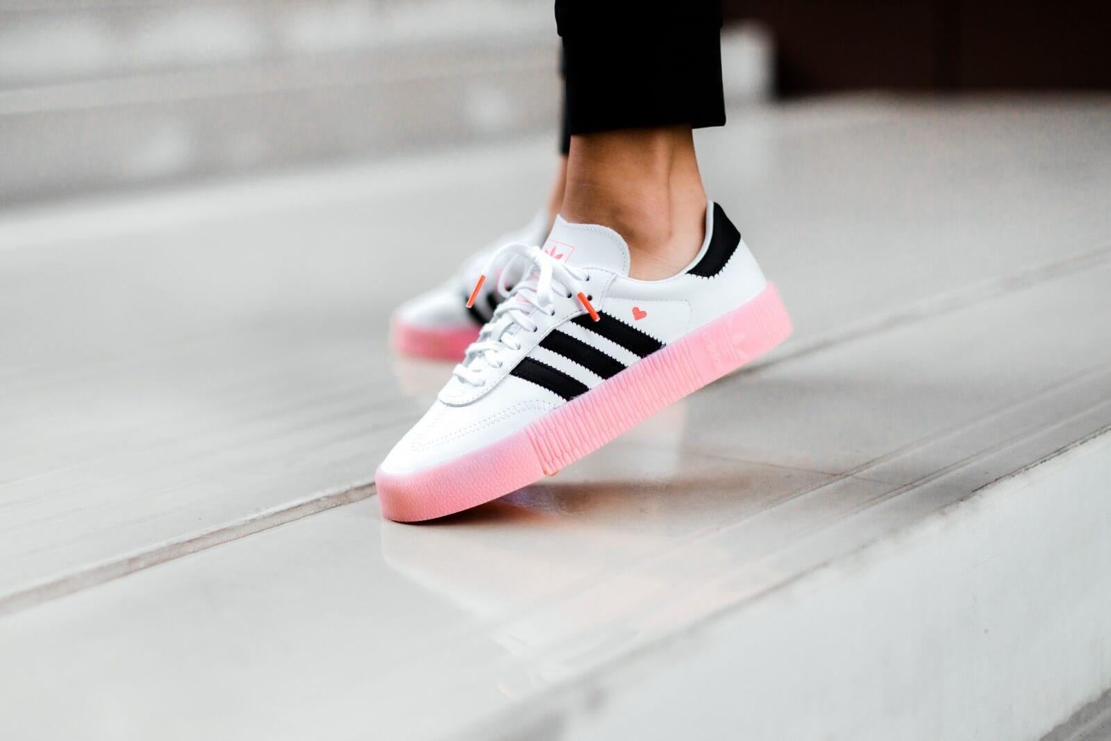 Adidas Women's Sambarose Footwear White/Core Black-Glow Pink