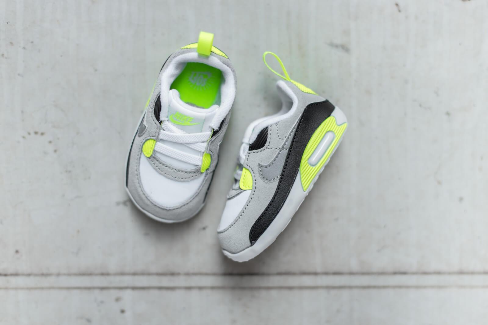 Nike Air Max 90 Crib White/Particle Grey-LT Smoke Grey-Volt