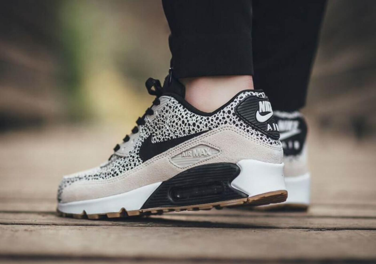 Nike Wmns Air Max 90 Prm White Black Gum Light Brown