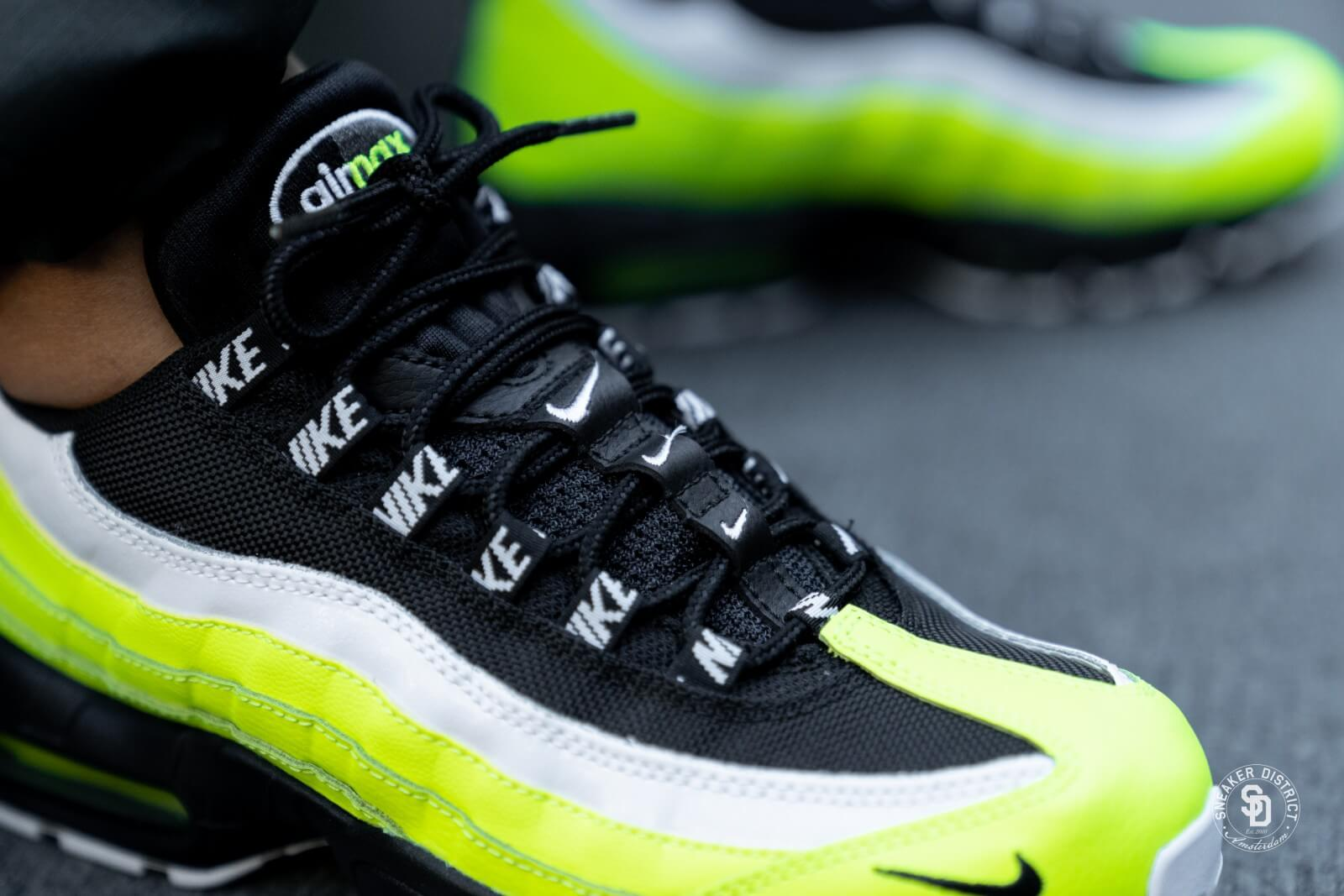 Nike Air Max 95 PRM GS Nike Air Max 95 Black Volt Green Battery 1989 Nike Shoes Gray And ...