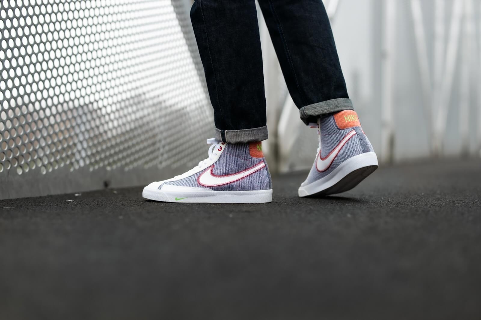 Nike Blazer Mid '77 Recycled Pack Grey/White-Sport Red-Electric Green