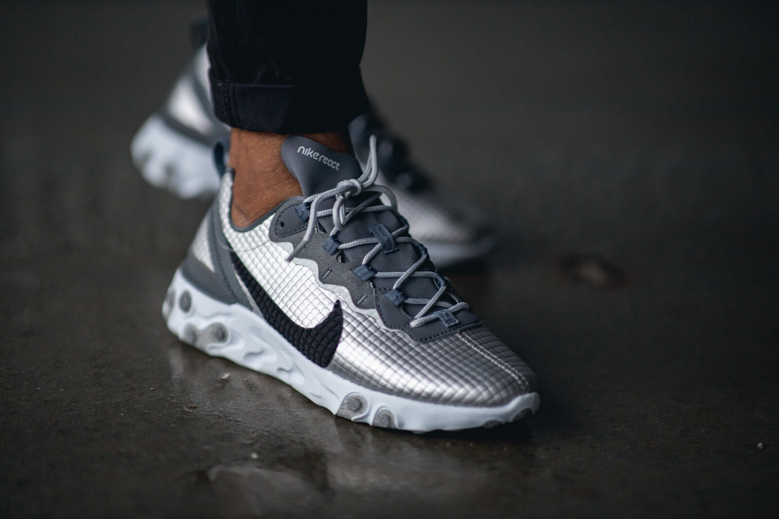 Nike React Element 55 Premium Metallic Silver/Black