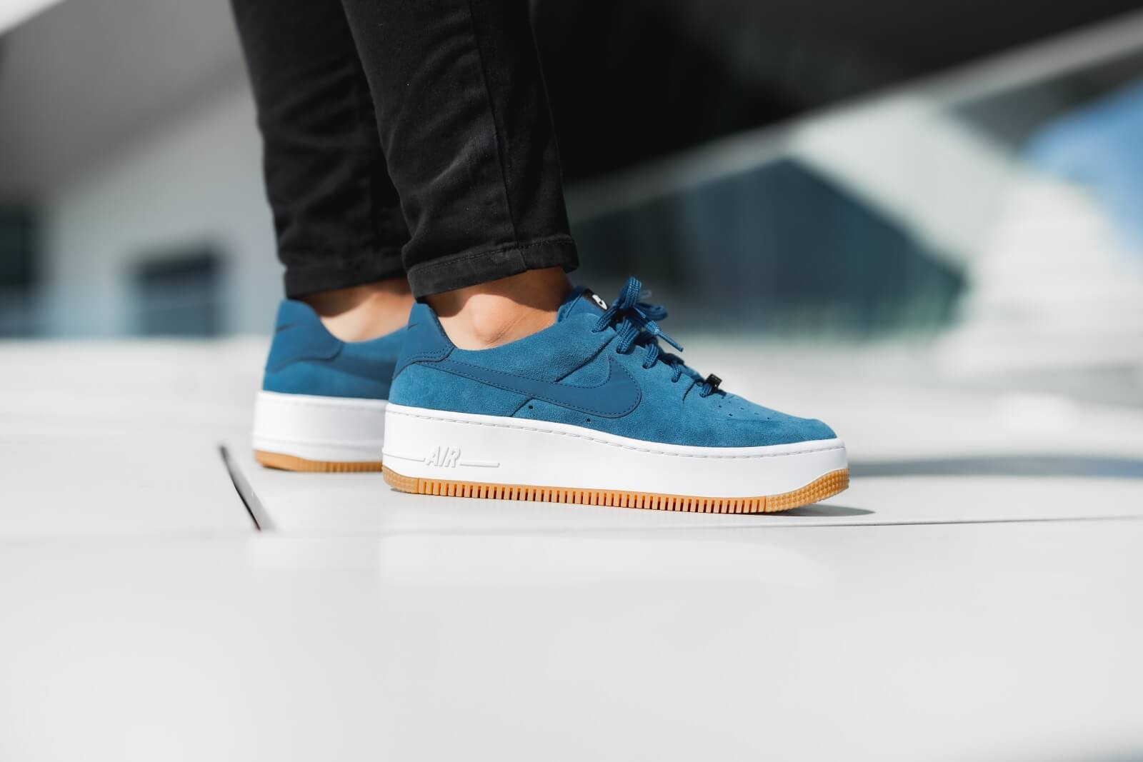 Nike Women S Air Force 1 Sage Low Blue Force Black White Ar5339 401