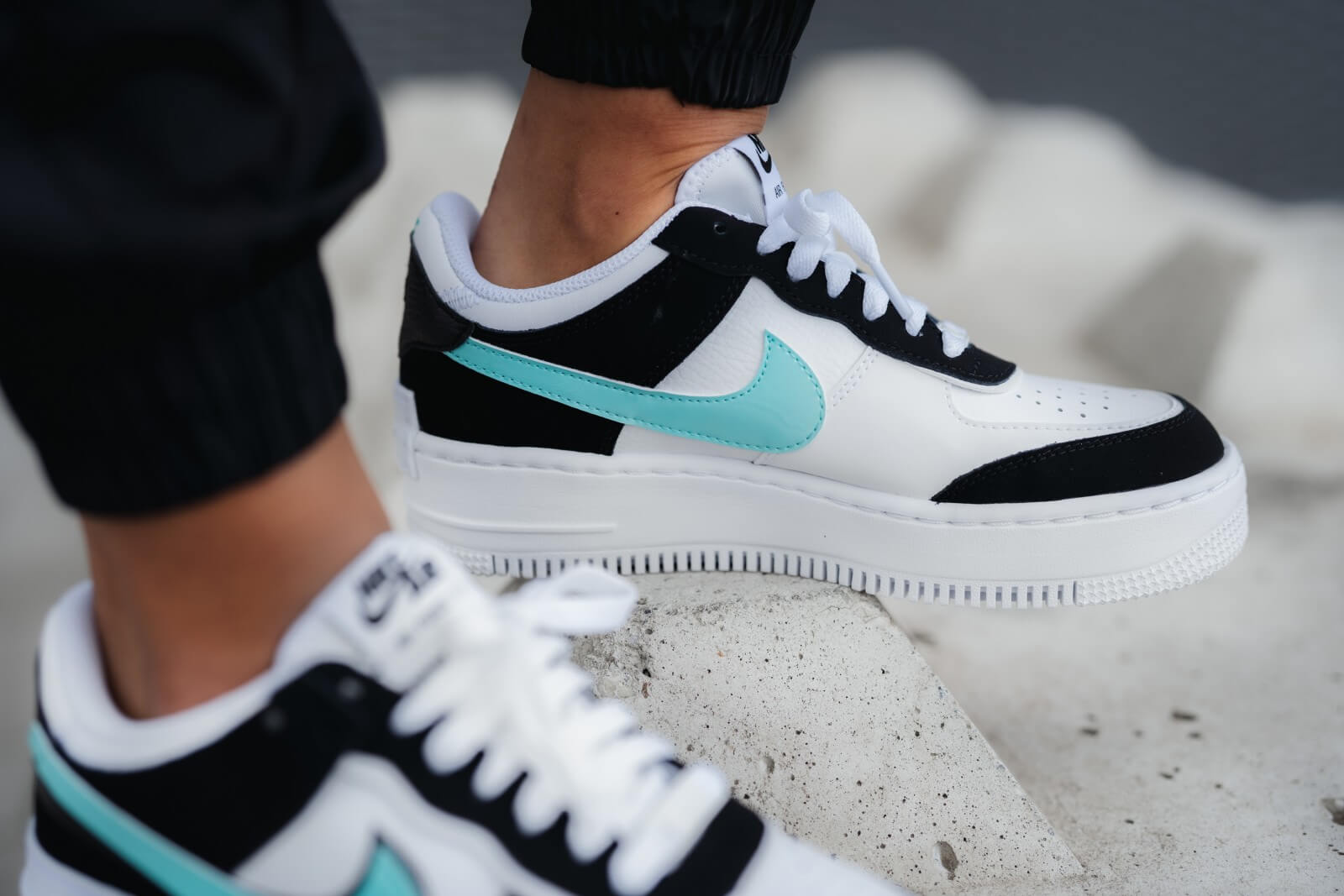 Nike Women's Air Force 1 Shadow White/Aurora Green
