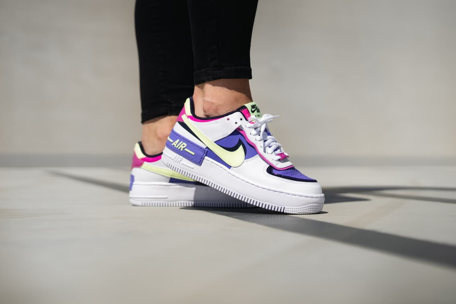 Nike Women's Air Force 1 Shadow White/Barely Volt-Sapphire-Fire Pink