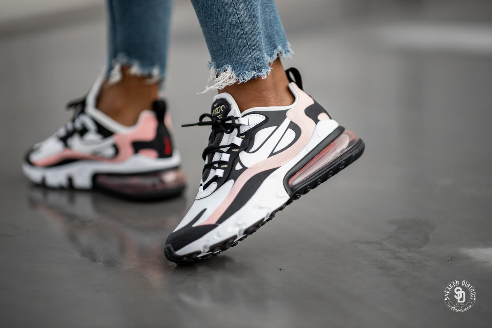 Nike Women's Air Max 270 React Black/White-Bleached Coral